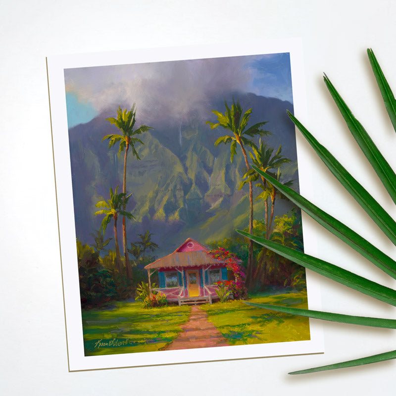 Hawaii souvenir art print on paper of Hanalei Kauai painting by Hawaii Artist Karen Whitworth