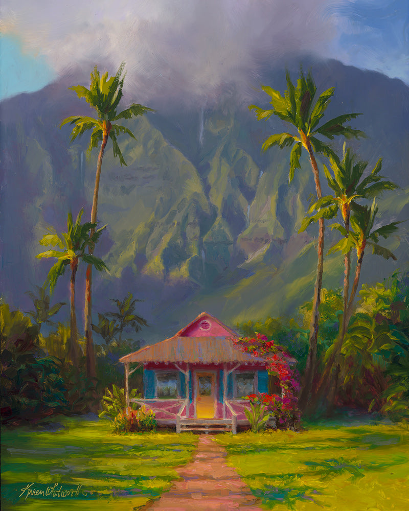 Hawaiian Cottage in front of a tropical landscape in Hanalei Town on the Island of Kauai, original painting by Karen Whitworth