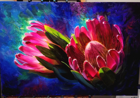 Original Oil Painting of two tropical pink mink protea flowers by artist and oil painter Karen Whitworth
