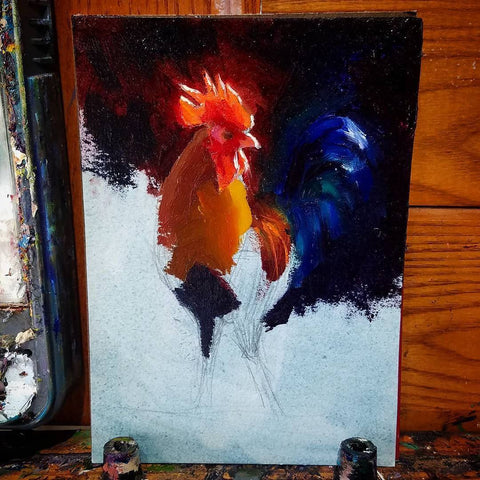 Kauai Rooster painting in progress by artist Karen Whitworth