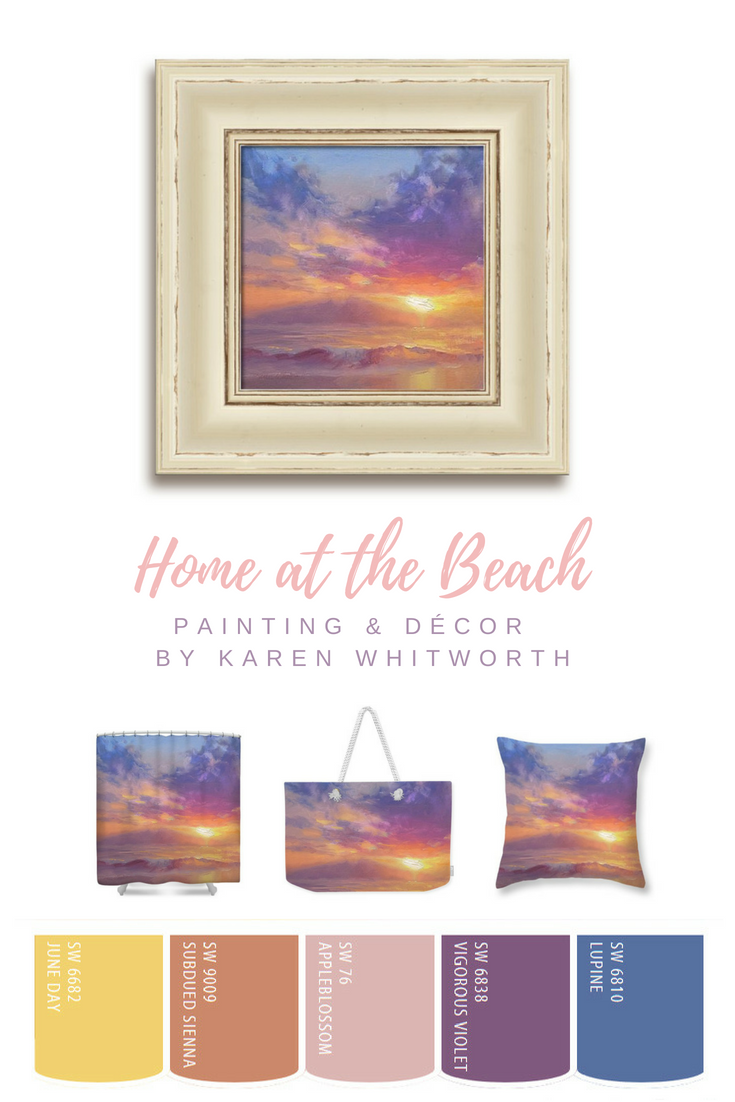 Soothing Beach Sunset or Sunrise Wall Art Home Decor and Color Palette