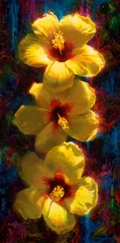 Yellow Hawaiian Hibiscus State Flower Painting by Hawaii artist Karen Whitworth