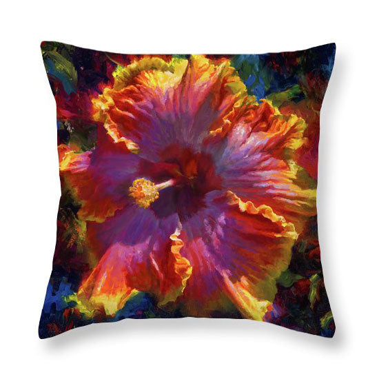 Hawaii souvenir throw pillow with tropical hibiscus flower