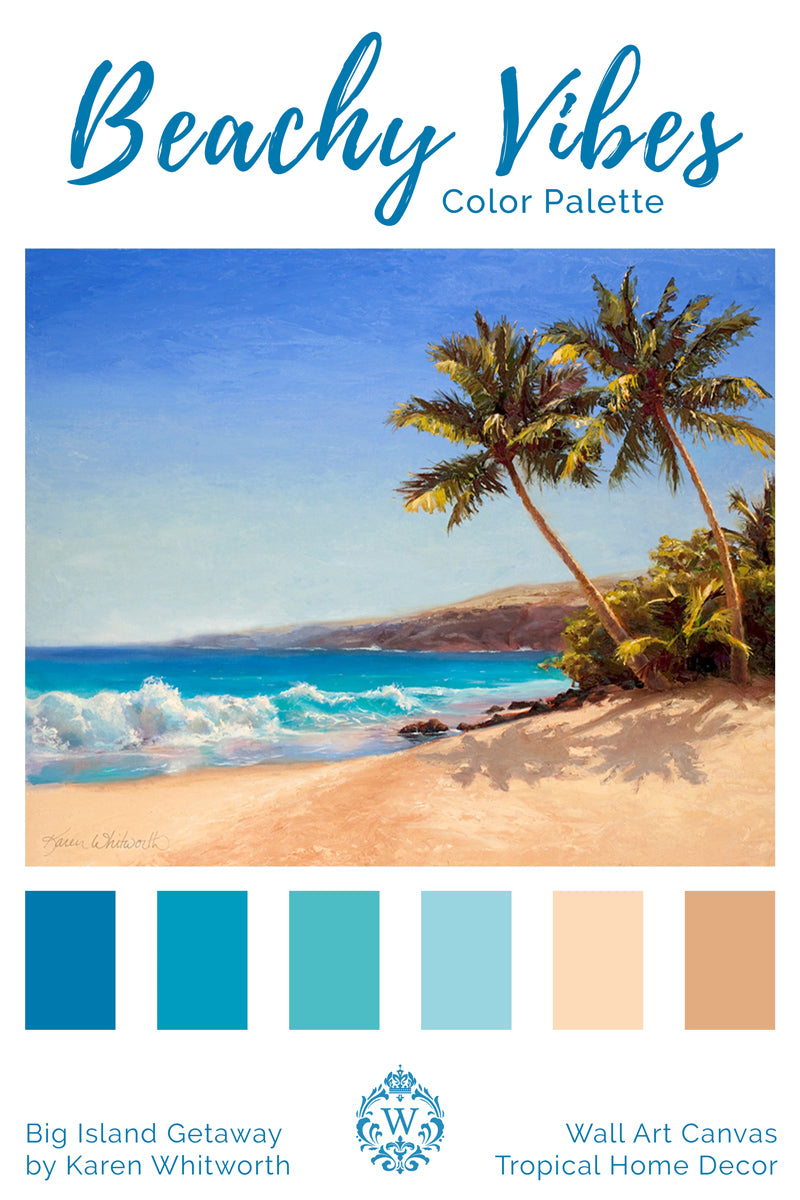 Beach House Color Palette for coastal home decor with painting of Hawaiian beach and palm trees