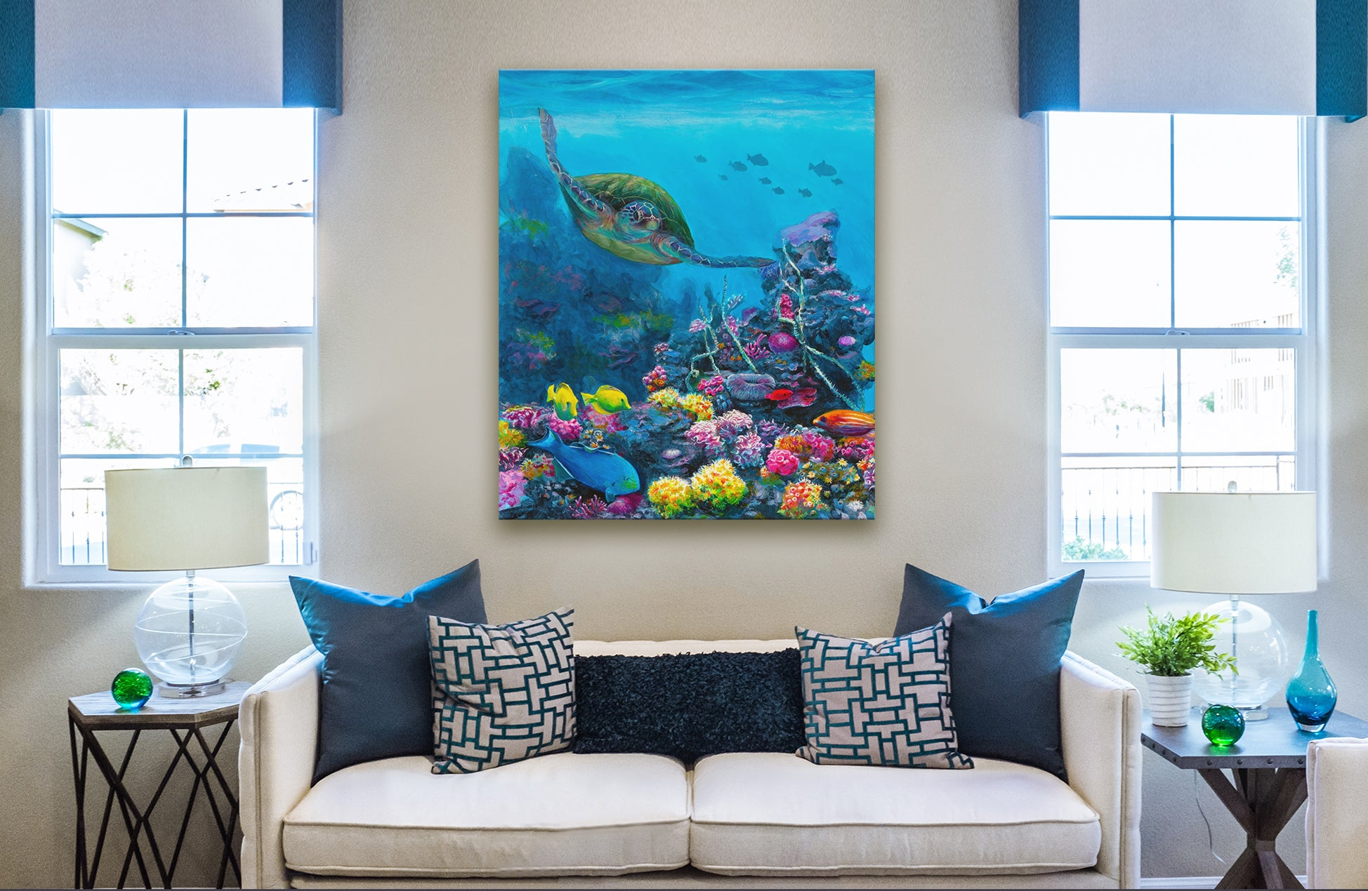 Hawaiian Green Sea Turtle art and coral Reef - Underwater Painting Canvas Wall Art in Home Decor Interior