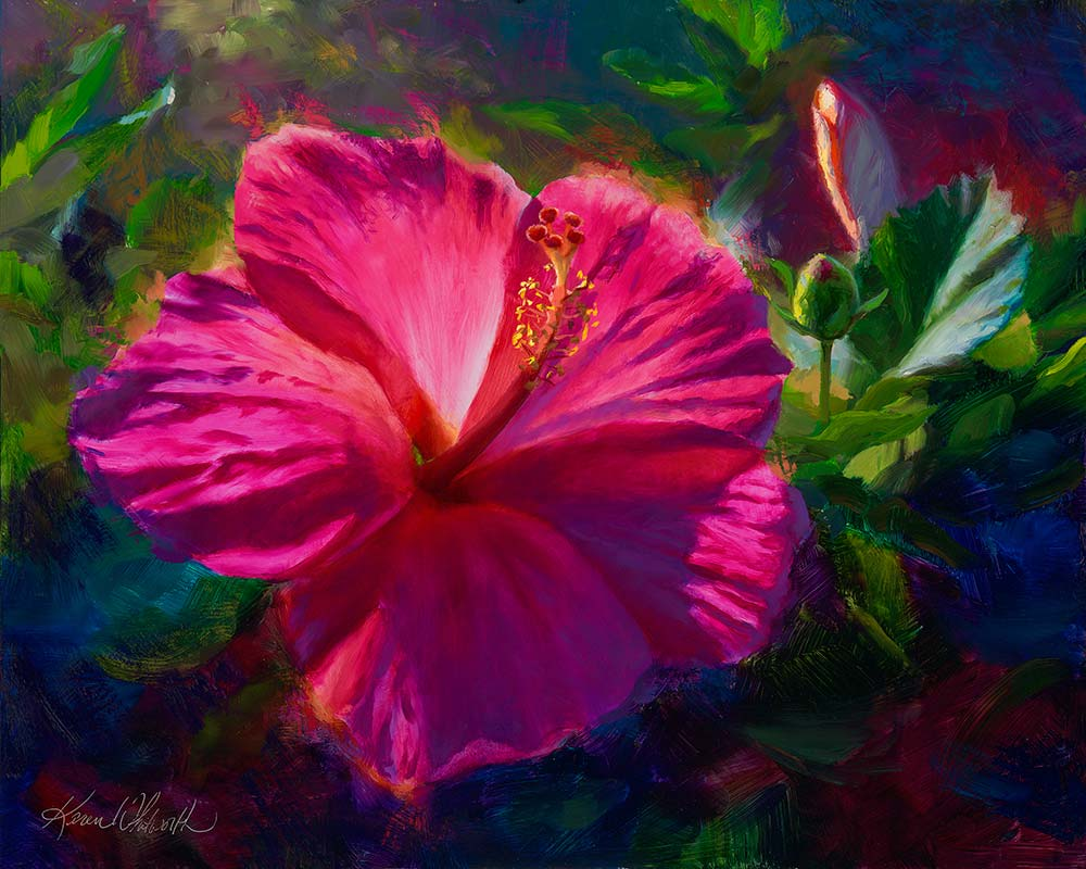 Hawaiian flower paintings and wall art prints by Hawaii artist Karen Whitworth