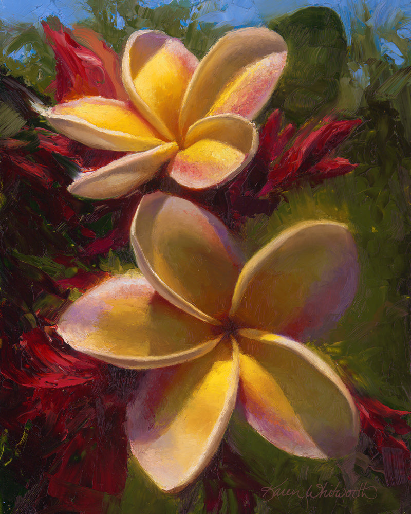 Tropical Flower Plumeria Painting by Hawaii Gallery Artist Karen Whitworth