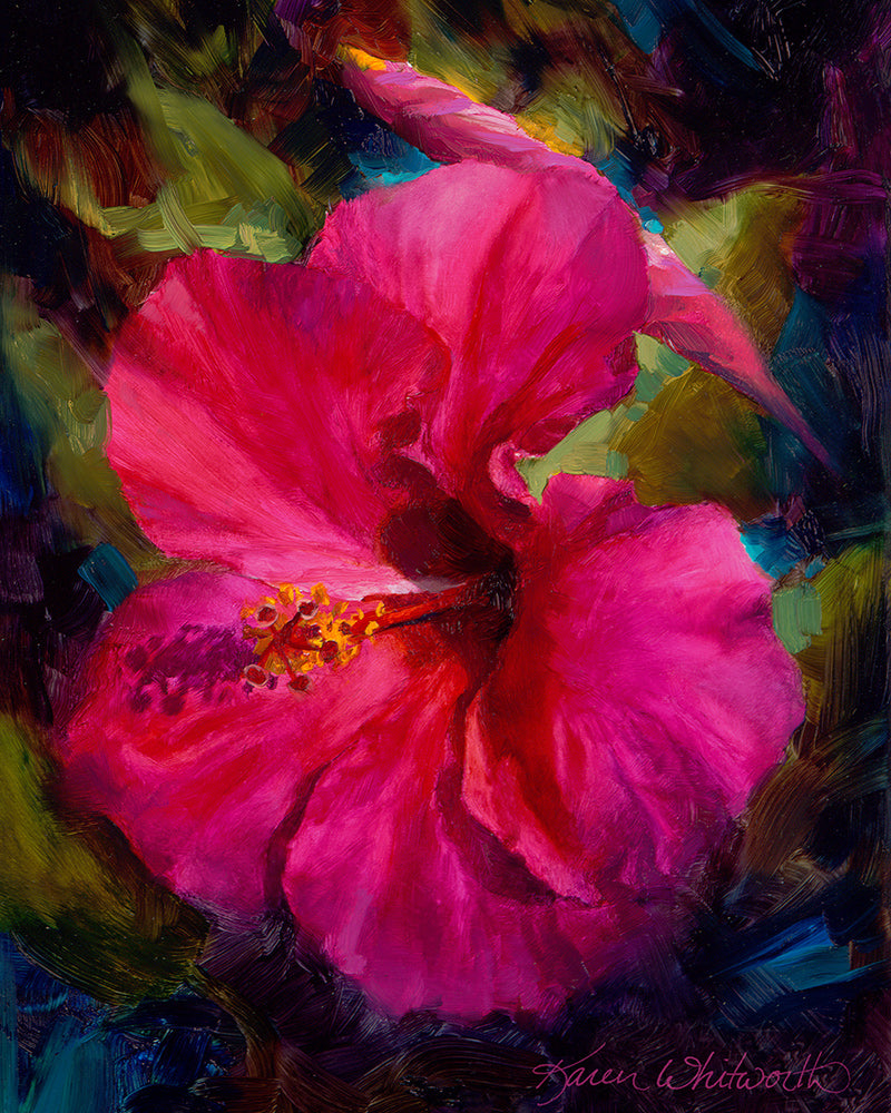 Tropical Hibiscus Flowers in bright colors by Hawaii Artist Karen Whitworth