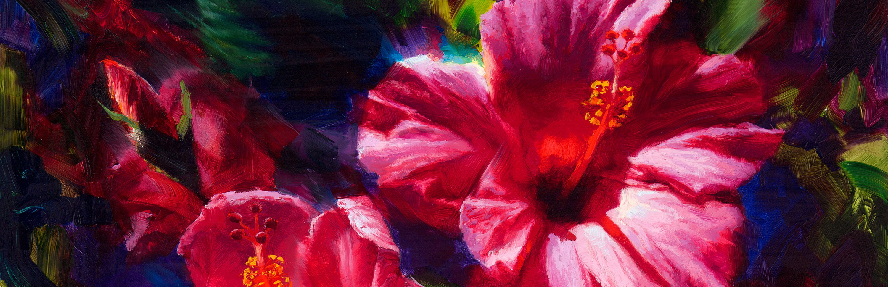 pink hibiscus painting by tropical Hawaii flower artist Karen Whitworth