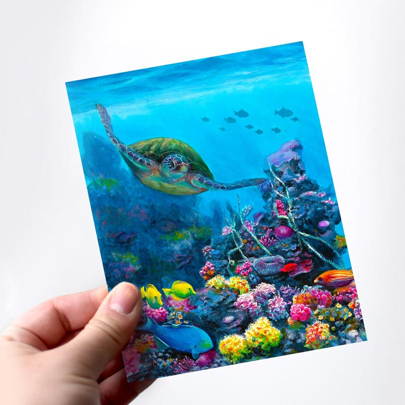 Hawaiian souvenir note card sea turtle stationery