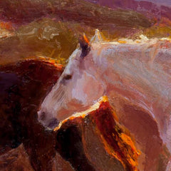 White horse head western art painting on canvas wall art by artist Karen Whitworth