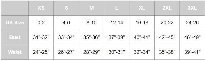 Tropical Floral Hoodie Size Chart