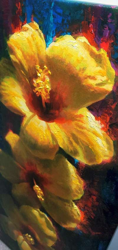 "yellow hibiscus flower Hawaii wall art canvas titled ""Past, Present, Future"" painting by tropical artist Karen Whitworth"