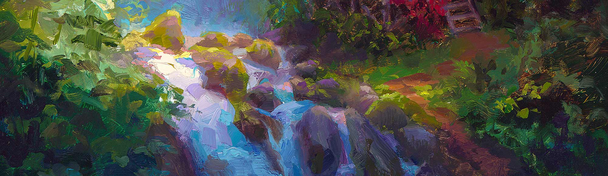 Waterfall landscape painting on canvas by tropical artist Karen Whitworth