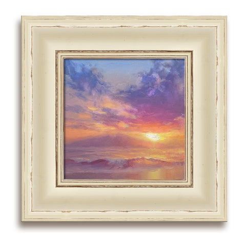 Framed Canvas Wall Art Coastal Beach Sunset / Sunrise Painting Warm Colors and Wood Frame