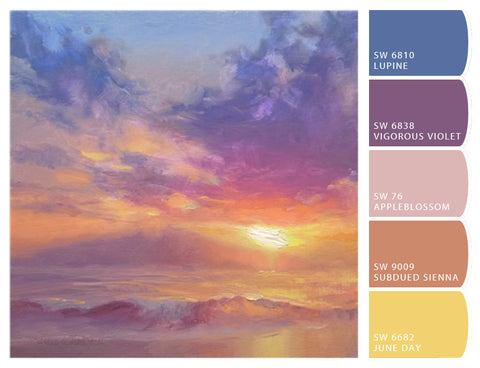 Color Palette Paint Swatches Wall Art Coastal decor Beach house Sunset / Sunrise Painting Warm Color Ideas