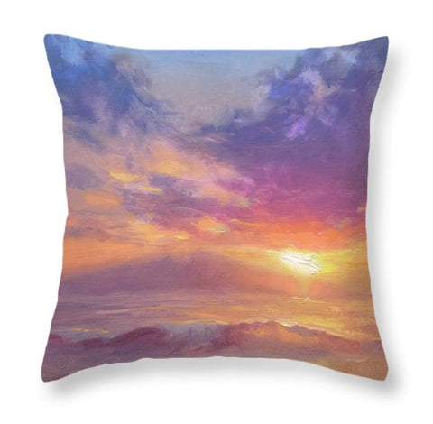 Coastal Home Beach Decor Sunset / Sunrise Throw Pillow Warm Color Palette Cushion
