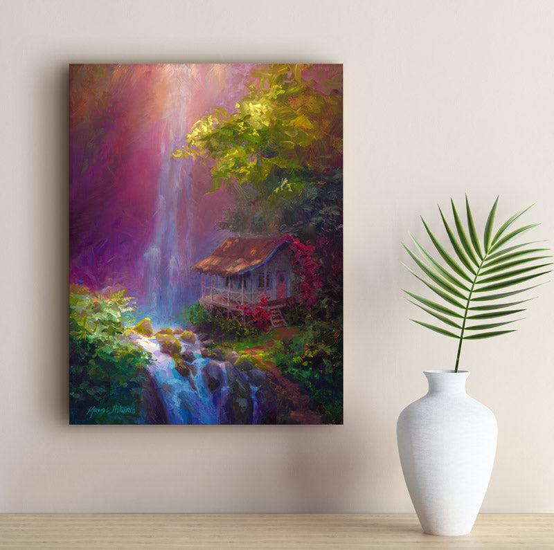 Hawaiian painting of cottage and waterfall tropical canvas wall art by Hawaii artist Karen Whitworth