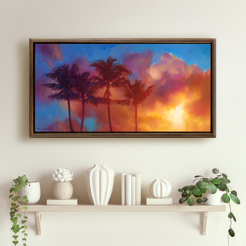 Hawaiian art of a palm tree painting tropical wall art canvas of a tropical sunset by Hawaii artist Karen Whitworth