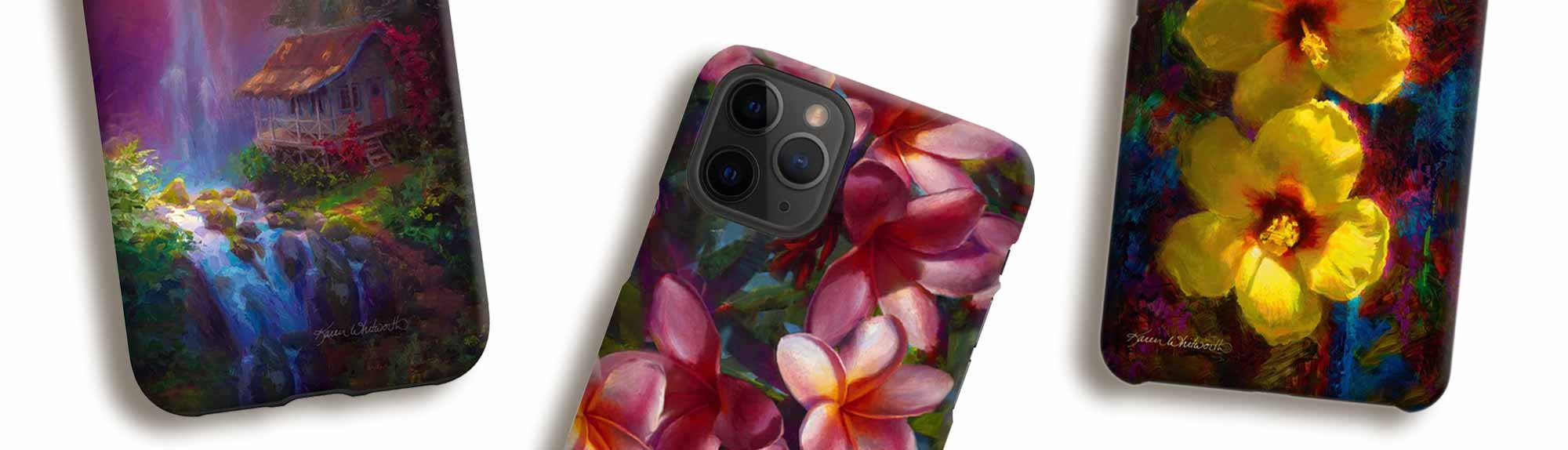 Tropical Hawaiian iPhone Cases with flowers