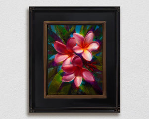 Framed hawaiian flower wall art canvas of plumeria flowers on white wall
