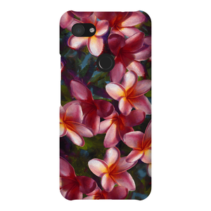 phone case with tropical pink Hawaiian Plumeria Flowers