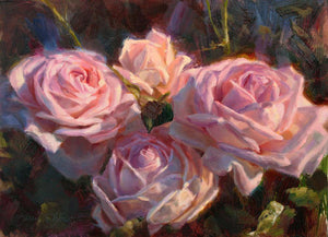 Painting of pink English roses by artist Karen Whitworth