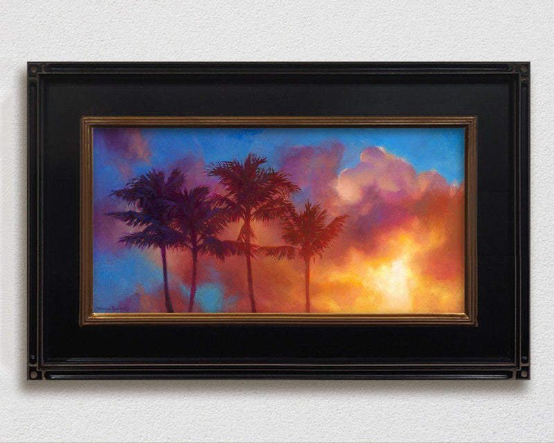Tropical art canvas of Hawaiian sunset palm tree painting by Hawaii artist Karen Whitworth