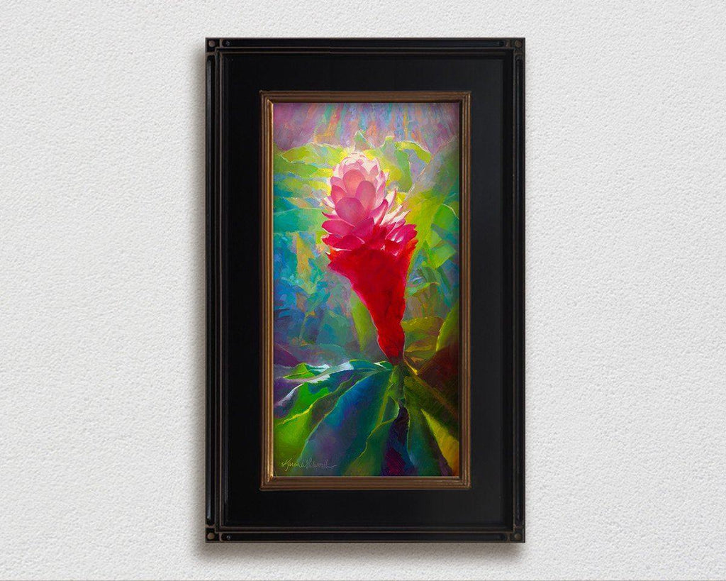 Jeweled Pink Ginger - Signed Artist Canvas of Tropical Hawaiian Flower Painting