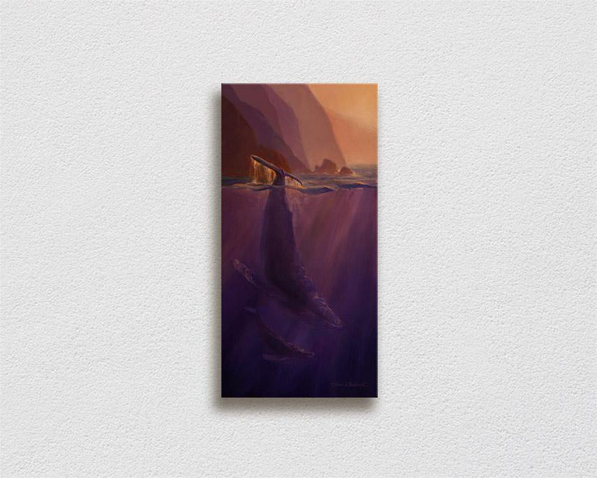Echoes of Light - Signed Canvas of Hawaiian Humpback Whales Painting