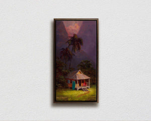 Framed Hawaiian sunset painting tropical art on canvas by Hawaii artist Karen Whitworth
