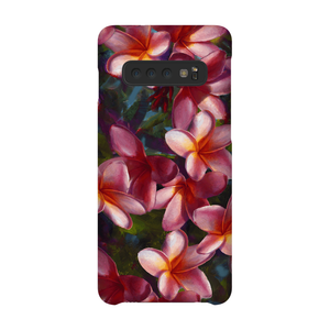 Samsung Galaxy S10 Plus Phone Case with tropical Hawaiian plumeria flowers