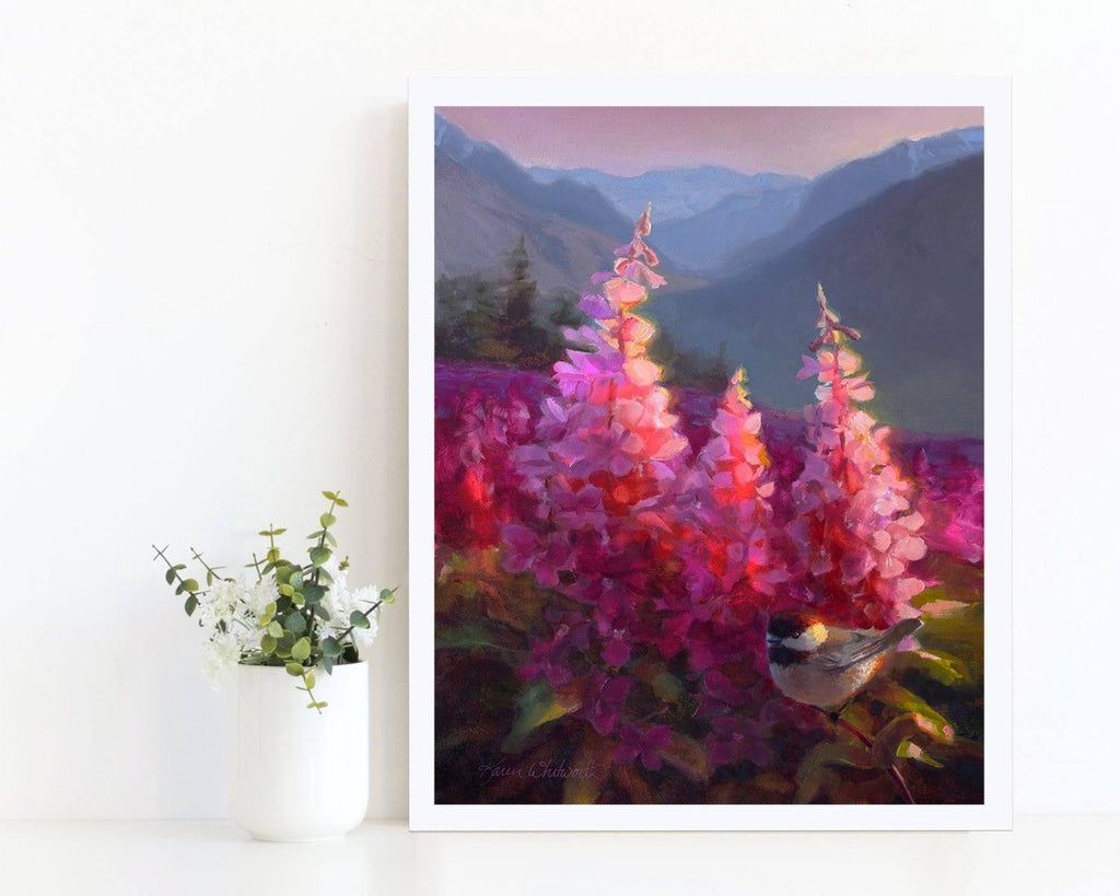 Alaska Mountain Landscape Art print poster of fireweed wildflowers and chickadee bird