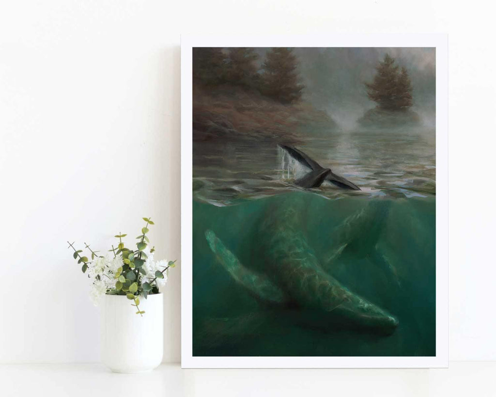 Painting of Humpback whale and calf wall art print by ocean artist Karen Whitworth
