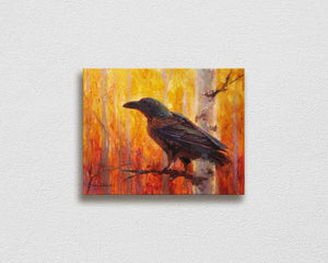 Painting of autumn raven and fall forest wall art canvas