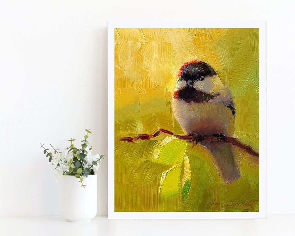 Bright painting of black capped chickadee bird by wildlife artist Karen Whitworth