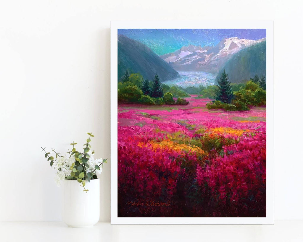 Alaska scenery wall art print of Mendenhall Glacier and fireweed flowers. Painting by landscape artist Karen Whitworth