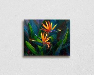Hawaiian Flower Painting with tropical bird of paradise canvas art by Hawaii artist Karen Whitworth