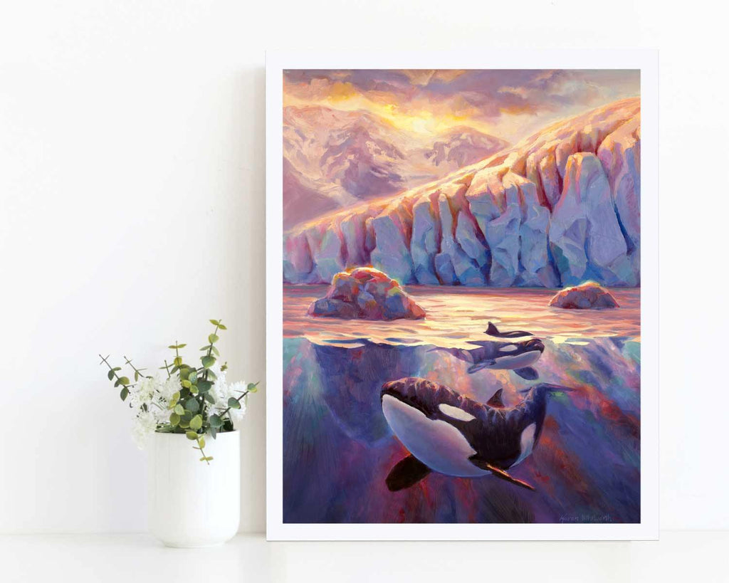 Orca Sunrise - Killer Whale Painting With Alaska Glacier