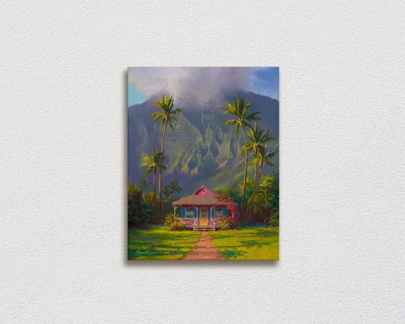 Hawaii landscape painting of Hanalei Kauai with mountain and palm trees