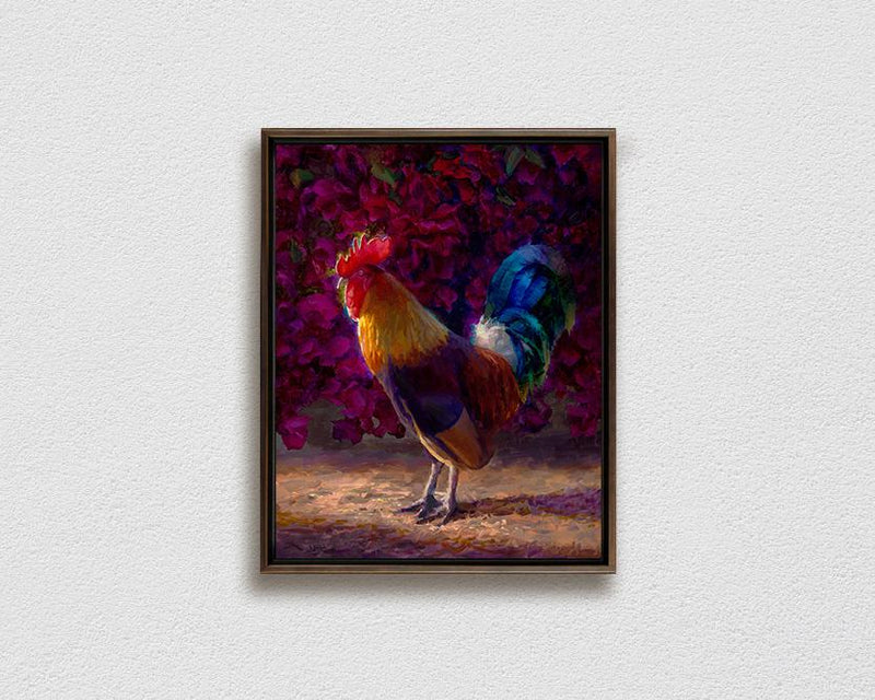 Framed Kauai chickens rooster painting on canvas by Hawaii artist Karen Whitworth