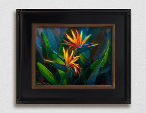 Framed Hawaiian Flower Painting with tropical bird of paradise canvas art by Hawaii artist Karen Whitworth