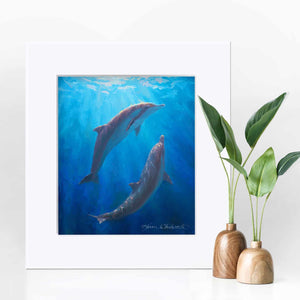8x10 Matted Underwater dolphin wall art print of whales by ocean artist Karen Whitworth
