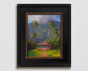 Hanalei Kauai wall art of a Tropical island landscape painting with Hawaii palm trees and mountain cottage
