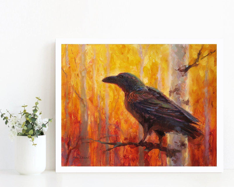 11x14 Autumn Raven Art Print of bird in forest by Alaska Artist Karen Whitworth