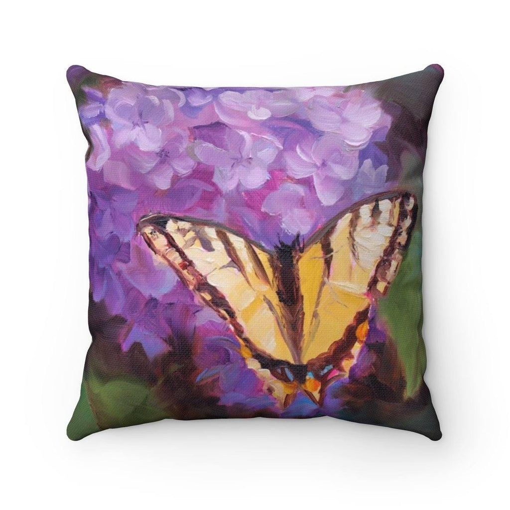 Purple Lilacs and Butterfly Floral Print Garden Decor Spun Polyester featuring Painting of Purple Flowers - Art of Karen Whitworth