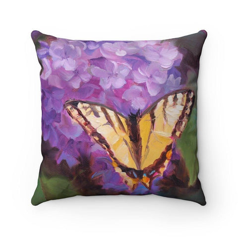 Garden Decor Floral Design Wall clock With Butterfly and Purple Lilac Flowers