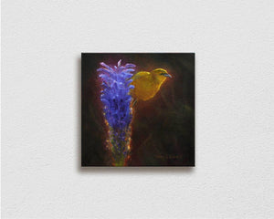 Painting on Canvas of Hawaiian Amakihi Bird on a Haleakala Lobelia Flower on white wall by Hawaii Gallery Artist Karen Whitworth
