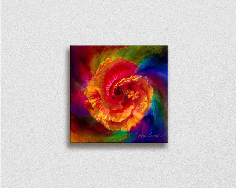 Painting of Hawaii Hibiscus flower tropical art canvas on white wall