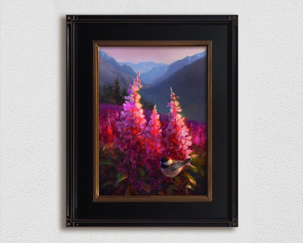 Alaskan landscape painting framed wall art by Alaska artist Karen Whitworth